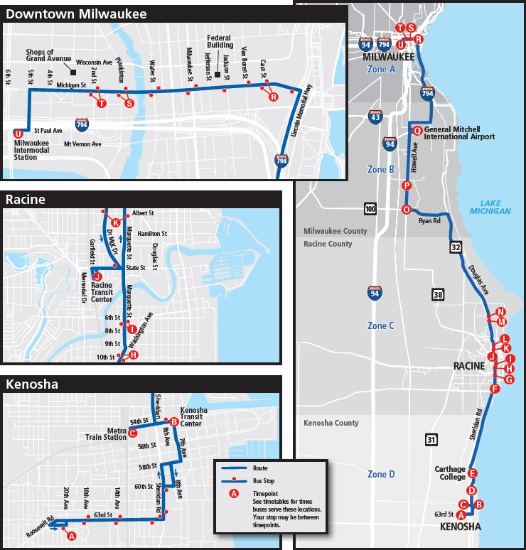 Wisconsin Coach Lines Kenosha Racine Route Map